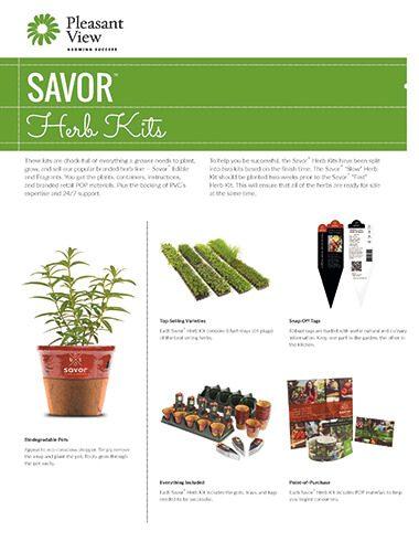 Savor™ Herb Kits Sales Sheet
